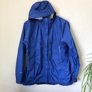 Marmot Blue Rain Jacket Shell with Hood